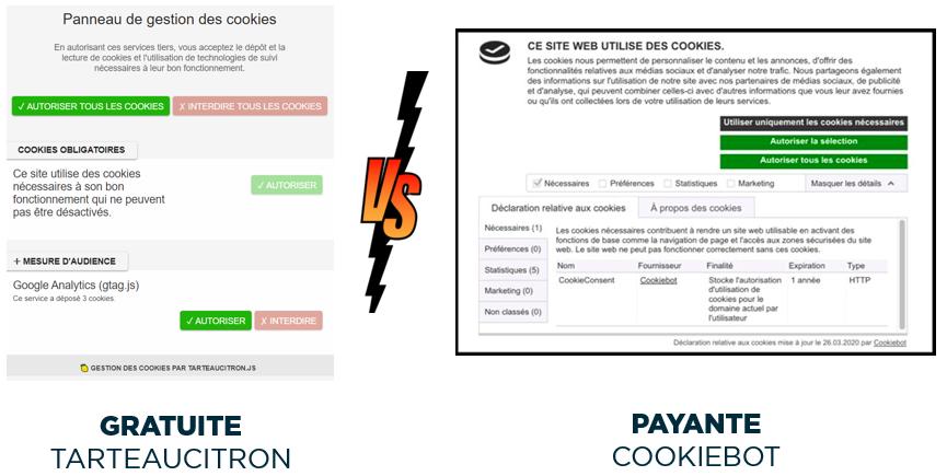 Cookiebot vs Tarteaucitron